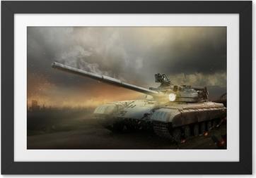 Ingelijste Poster Zwaar pantser in het vuur van de strijd
