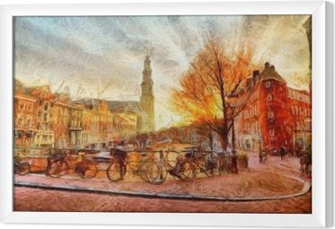 Innrammet lerret Amsterdam-kanalen på kvelds impressionistisk maleri
