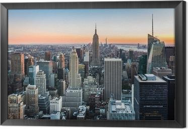 Innrammet lerret New York Skyline ved solnedgang