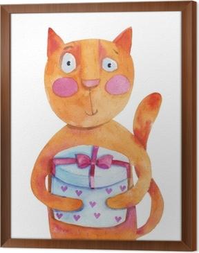 150374583 kompass data india Rød katt med gave med hjerter. akvarell illustrasjon.  håndtegning