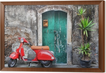 Innrammet lerret Rød scooter