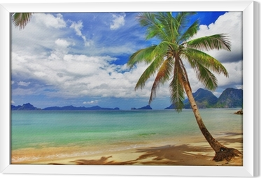 Innrammet lerret Vakkert avslappende tropisk landskap