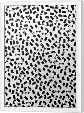 Innrammet lerret Vektor sømløs mønster av moderne børstepot. hånd trukket gravert vintage illustrasjon.