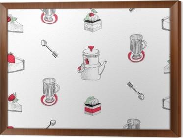 08943a82 Lerretsbilde Vektor sømløs mønster med hånd trukket te og kaffe og dessert  illustrasjoner. kan brukes til bakeri, bakverk, kafé, butikk og produkter.