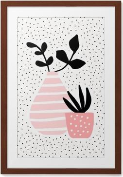 Innrammet plakat Rosa Vase og Pot med Planter