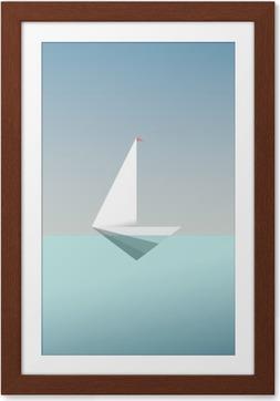 Innrammet plakat Yacht ikon symbol i moderne lav poly stil. Sommerferie eller reiseferiebakgrunn. Business metafor for frihet og suksess.