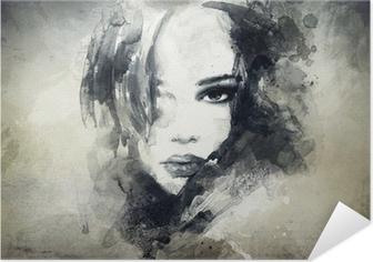 Abstrakti nainen muotokuva Itsestäänkiinnittyvä Juliste