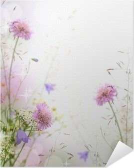 Kaunis pastelli kukka raja - hämärtynyt tausta Itsestäänkiinnittyvä Juliste