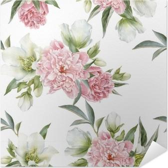 Kukka saumaton malli peonies ja hellebore Itsestäänkiinnittyvä Juliste