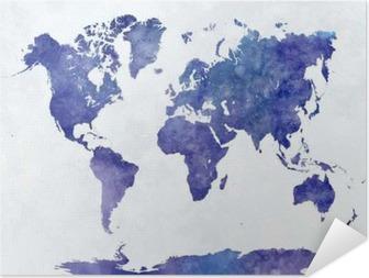 Maailman kartta vesiväri Itsestäänkiinnittyvä juliste