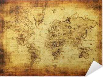 Muinainen kartta maailmasta. Itsestäänkiinnittyvä Juliste