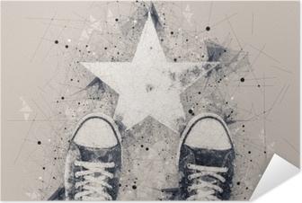 Nuori henkilö tiellä, jossa on tähtimuotoinen merkintä Itsestäänkiinnittyvä juliste