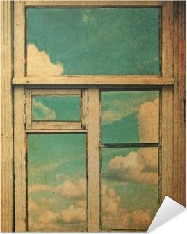 Retro kuva ikkunan kanssa Itsestäänkiinnittyvä Juliste
