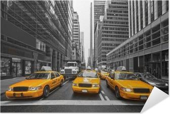 Tyellow taksit new york city, usa. Itsestäänkiinnittyvä Juliste