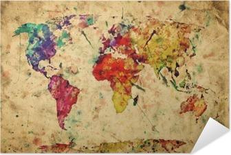 Vintage maailman kartta. värikäs maali, vesiväri grunge-paperiin Itsestäänkiinnittyvä Juliste