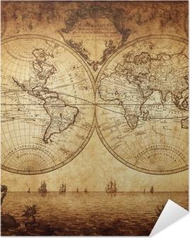 Vuosikerta kartta maailmasta 1733 Itsestäänkiinnittyvä Juliste