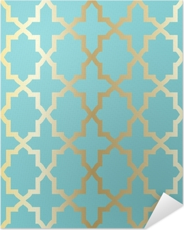 Yksinkertainen abstrakti arabeski kuvio - turkoosi ja kultainen. Itsestäänkiinnittyvä Juliste