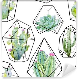 Akvarellivektorin kaktuskuvio Itsestäänkiinnittyvä Valokuvatapetti