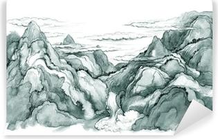 Japanilainen vuoret Itsestäänkiinnittyvä valokuvatapetti