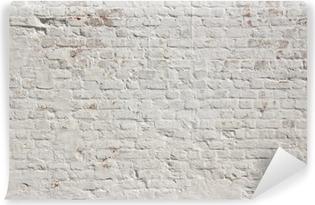 Valkoinen grunge tiiliseinä taustalla Itsestäänkiinnittyvä Valokuvatapetti