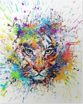 Яркий фон с тигром Juliste