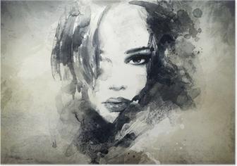 Abstrakti nainen muotokuva Juliste