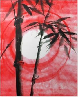 Akvarelli muste japanise bambu auringonlaskun aikaan Juliste