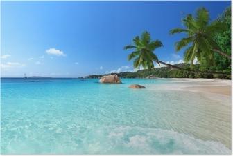 Anse Lazion ranta Praslinin saarella, Seychellit Juliste