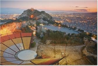 Athens auringonlaskun päässä likabetus hill. Juliste