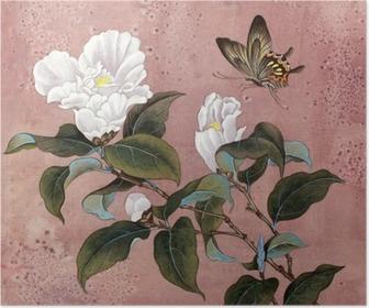 Azalea kukka ja perhonen Juliste