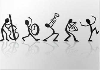 Bändi muusikoita, jotka soittavat musiikkia, vektori sopii t-paitoihin Juliste