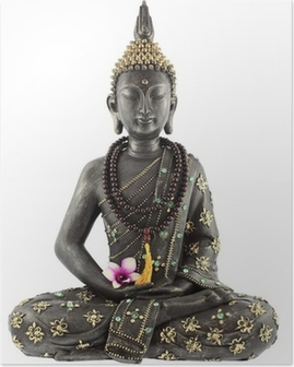 Bouddha avec kappeli de prière ja fleur d'orchidée Juliste