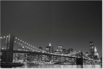 Brooklyn silta ja manhattanin horisonttiin yöllä, new york city Juliste