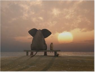 Elefantti ja koira istuvat kesällä rannalla Juliste