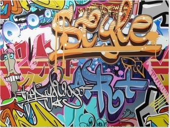 Graffitien seinä. kaupunkien taiteen vektori tausta. saumaton rakenne Juliste
