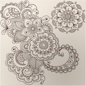 Henna tatuointi abstrakti paisley kukka doodles vektori Juliste
