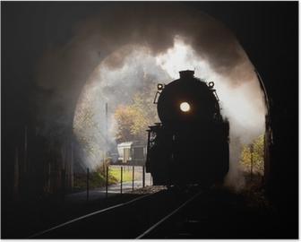 Höyryveturi tulee tunneliin Juliste