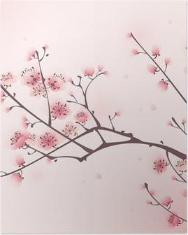 Itämainen tyyli maalaus, kirsikankukka keväällä Juliste