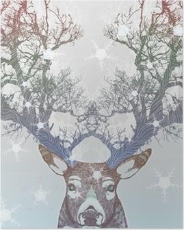 Jäädytetty puu hirvi peura Juliste