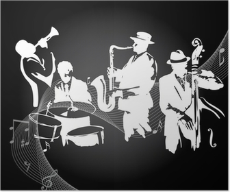 Jazz-konsertti musta tausta Juliste