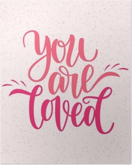 Käsin kirjoitettu olet rakastettu lause. vektori kortti valentine s päivä, 14 helmikuu. vektori kuva eristetty vaaleanpunainen. harjoituslaatikoiden suunnittelu, valmis painamiseen pyhän valentinin päiväksi Juliste