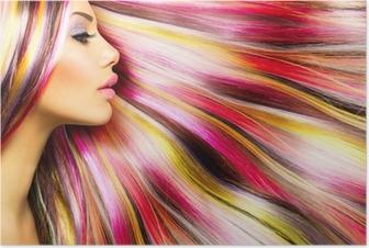 Kauneus muoti malli tyttö värikäs värjätyt hiukset Juliste