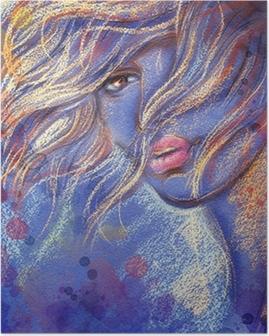 Kaunis nainen. vesiväri kuva Juliste
