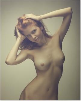 Kaunis tyttö poseeraa alasti Juliste