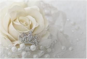 Kermanvärinen ruusu koruvalolla Juliste
