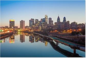 Keskikaupungin horisonttiin philadelphia, pennsylvania. Juliste
