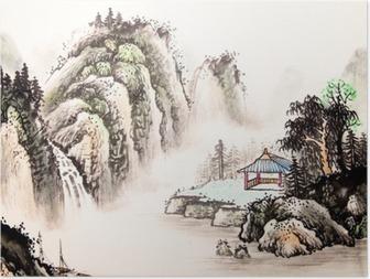 Kiinalainen maisema vesiväri maalaus Juliste