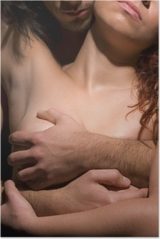 Kiusaus nainen ja mies Juliste