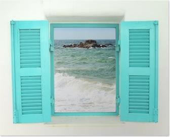 Kreikkalaistyylinen ikkuna merinäköalalla Juliste