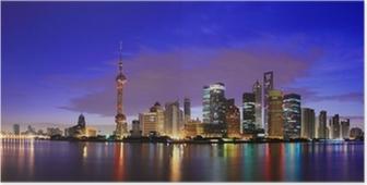 Lujiazui finance & trade alue shanghai maamerkki horisonttiin aamunkoitteessa Juliste